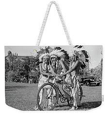 Native Americans With Bicycle Weekender Tote Bag