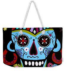 Weekender Tote Bag featuring the painting Native Dia De Los Muertos Skull by Pristine Cartera Turkus