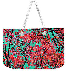Weekender Tote Bag featuring the photograph Natures Magic - Fire Red by Rebecca Harman