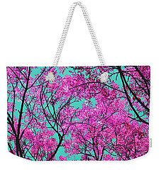 Weekender Tote Bag featuring the photograph Natures Magic - Pink And Blue by Rebecca Harman