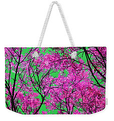 Weekender Tote Bag featuring the photograph Natures Magic - Pink And Green by Rebecca Harman