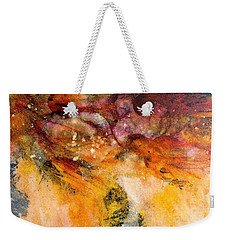 Weekender Tote Bag featuring the painting Naturescape In Red by Carolyn Rosenberger