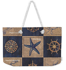 Nautical Burlap Weekender Tote Bag