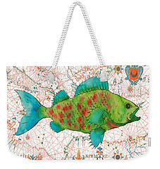 Weekender Tote Bag featuring the painting Nautical Treasures-a by Jean Plout