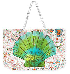 Weekender Tote Bag featuring the painting Nautical Treasures-b by Jean Plout