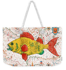 Weekender Tote Bag featuring the painting Nautical Treasures-c by Jean Plout