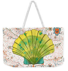 Weekender Tote Bag featuring the painting Nautical Treasures-d by Jean Plout