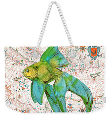 Weekender Tote Bag featuring the painting Nautical Treasures-e by Jean Plout