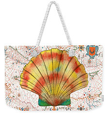 Weekender Tote Bag featuring the painting Nautical Treasures-f by Jean Plout
