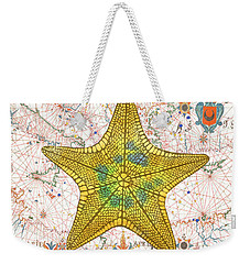 Weekender Tote Bag featuring the painting Nautical Treasures-j by Jean Plout