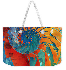 Nautilus Shell Orange Blue Green Weekender Tote Bag