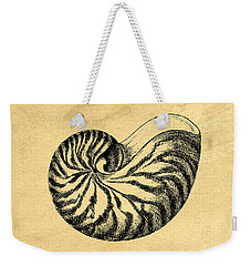 Weekender Tote Bag featuring the digital art Nautilus Shell Vintage by Edward Fielding
