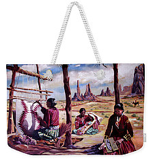 Weekender Tote Bag featuring the painting Navajo Weavers by Nancy Griswold