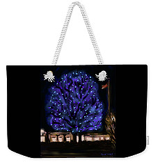 Weekender Tote Bag featuring the painting Needham's Blue Tree by Jean Pacheco Ravinski