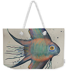Weekender Tote Bag featuring the mixed media Neon Blue Fish by Walt Foegelle