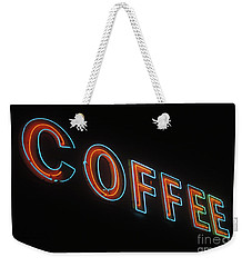 Weekender Tote Bag featuring the photograph Neon Coffee by Jim and Emily Bush