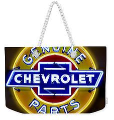 Neon Genuine Chevrolet Parts Sign Weekender Tote Bag