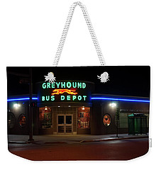 Weekender Tote Bag featuring the photograph Neon Greyhound Bus Depot Sign by Chris Flees