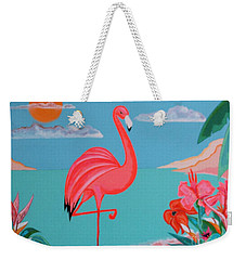 Neon Island Flamingo Weekender Tote Bag
