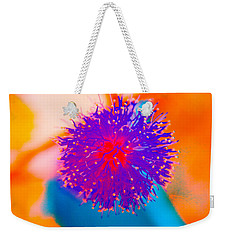 Neon Pink Puff Explosion Weekender Tote Bag by Samantha Thome