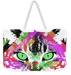 Neon Rainbow Kitty Cat Poster Print By Robert R Weekender Tote Bag
