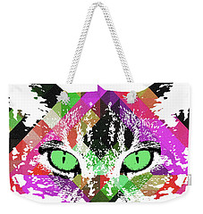 Neon Rainbow Kitty Cat Poster Print By Robert R Weekender Tote Bag