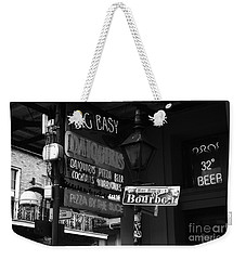 Neon Sign On Bourbon Street Corner French Quarter New Orleans Black And White Weekender Tote Bag
