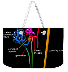 Weekender Tote Bag featuring the digital art Nephron Black With White Labels by Russell Kightley