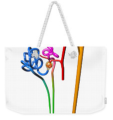 Weekender Tote Bag featuring the digital art Nephron White by Russell Kightley