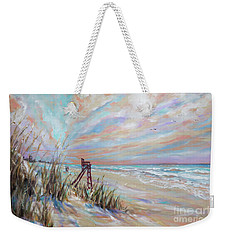 Weekender Tote Bag featuring the painting Neptune Lifeguard Chair by Linda Olsen