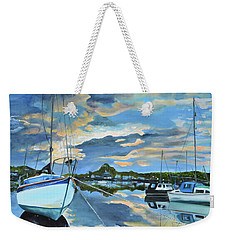 Weekender Tote Bag featuring the painting Nestled In For The Night At Mylor Bridge - Cornwall Uk - Sailboat  by Jan Dappen