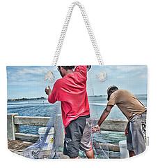 Net Fishing On Cortez Bridge  Weekender Tote Bag by Glenn Gemmell
