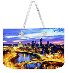 Weekender Tote Bag featuring the photograph New Center Of Vilnius by Fabrizio Troiani