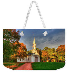 Weekender Tote Bag featuring the photograph New England Autumn - White Chapel by Joann Vitali