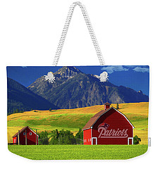 Weekender Tote Bag featuring the photograph New England Patriots Barn by Movie Poster Prints