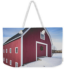 Weekender Tote Bag featuring the photograph New England Red Barn Winter Orford by Edward Fielding