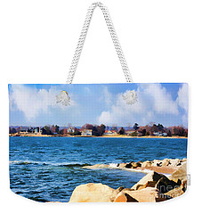 New England Shoreline - Painterly Weekender Tote Bag by Judy Palkimas