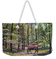 New Forest With Horse In Light  Weekender Tote Bag