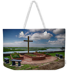 Weekender Tote Bag featuring the photograph New Garden Cross At Belin Umc by Bill Barber