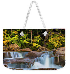 New Hampshire White Mountains Swift River Waterfall In Autumn With Fall Foliage Weekender Tote Bag by Ranjay Mitra