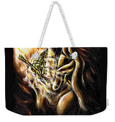Weekender Tote Bag featuring the painting New Journey by Hiroko Sakai