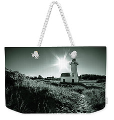 Weekender Tote Bag featuring the photograph New London Light Behind Dunes by Chris Bordeleau