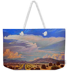 Weekender Tote Bag featuring the painting New Mexico Cloud Patterns by Art James West