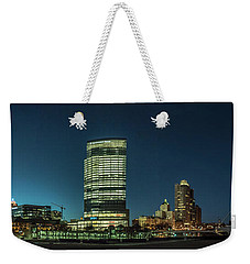 Weekender Tote Bag featuring the photograph New Milwaukee Skyline by Randy Scherkenbach