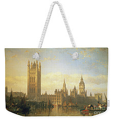 New Palace Of Westminster From The River Thames Weekender Tote Bag by David Roberts