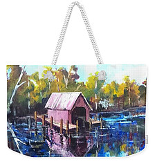 Weekender Tote Bag featuring the painting New River Boathouse by Jim Phillips