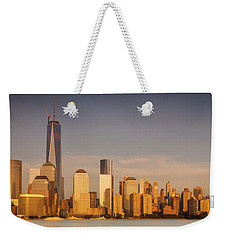 New World Trade Memorial Center And New York City Skyline Panorama Weekender Tote Bag by Ranjay Mitra