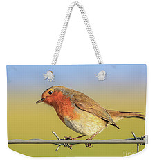 Weekender Tote Bag featuring the photograph New Year Robin by Roy McPeak