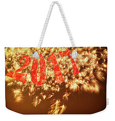 New Years Fireworks 2017 In  Red Gold And Black Grunge Feel Weekender Tote Bag by Marianne Campolongo
