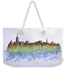 Weekender Tote Bag featuring the painting New York After Time by Edwin Alverio